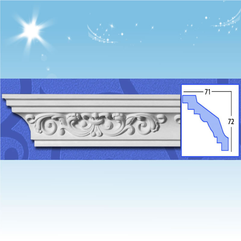 Decorative Polyurethane Crown Moldings Carving Cornice Mouldings