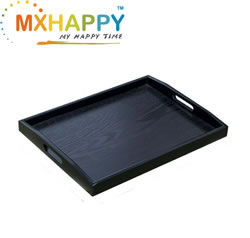 Black Wood Food Serving Tray