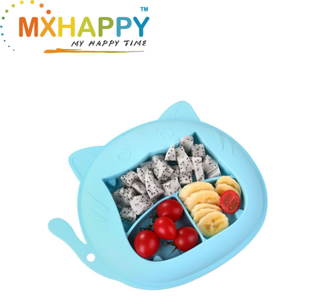 View:Silicone Portable Non Slip Suction Plates for Children Babies and Kids BPA Free Baby Dinner Plate